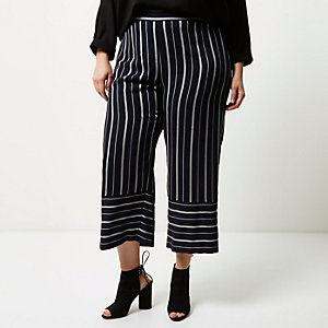 Plus navy mixed stripe cropped trousers
