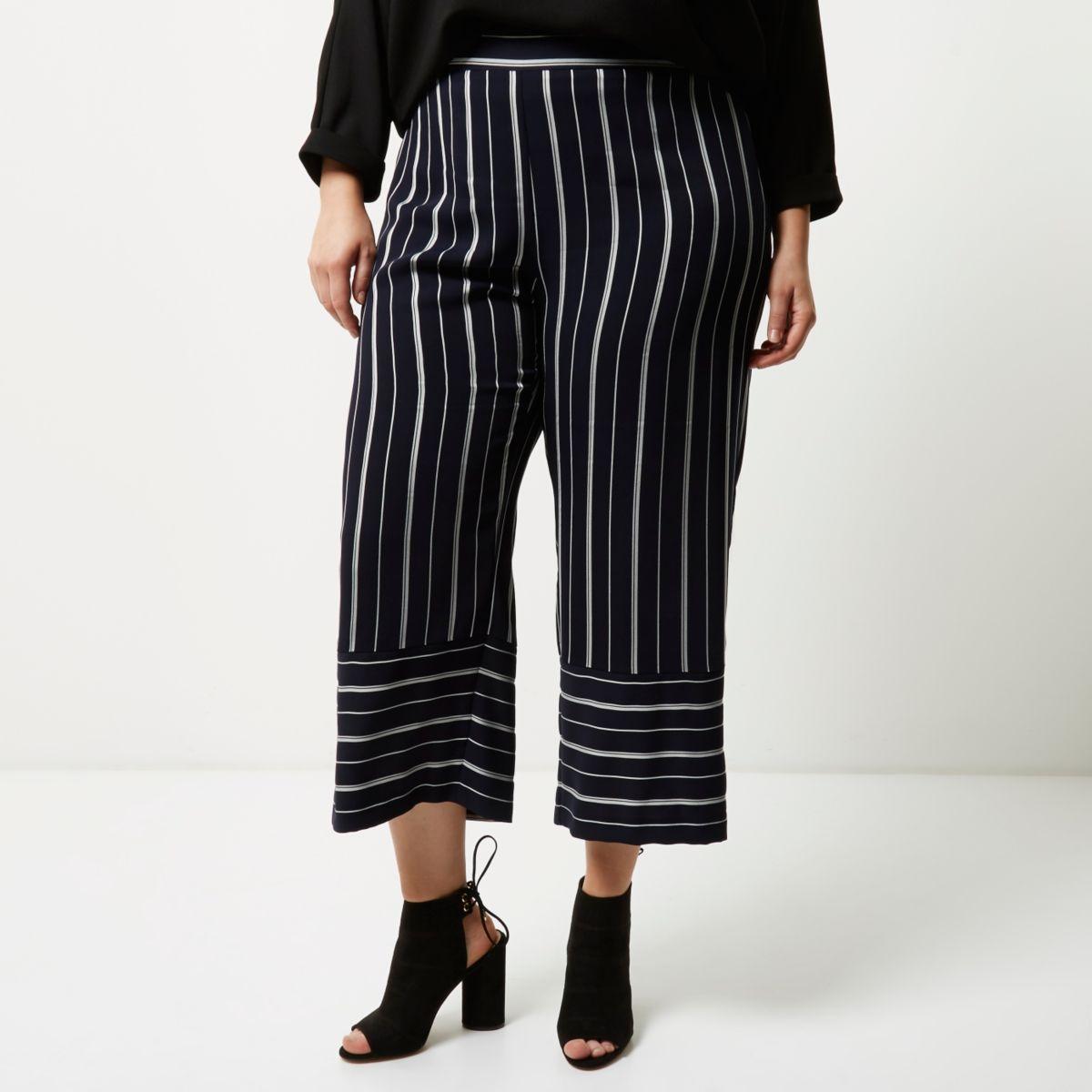 Plus navy mixed stripe cropped pants