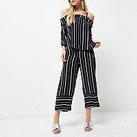 Petite navy mixed stripe cropped pants