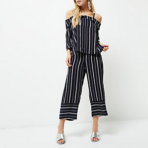 Petite navy mixed stripe cropped trousers