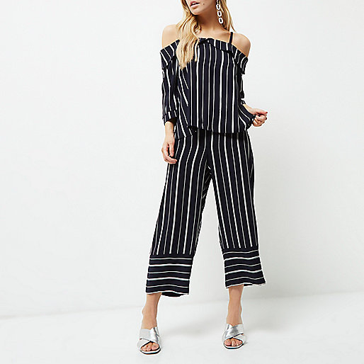 Petite navy mixed stripe cropped pants