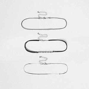 Silver tone 3 row chain choker set