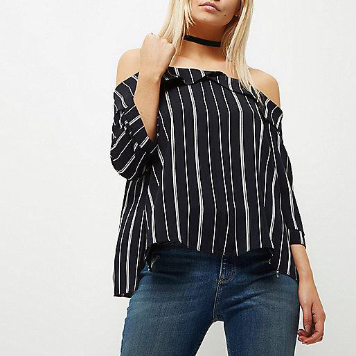 Petite stripe print bardot top