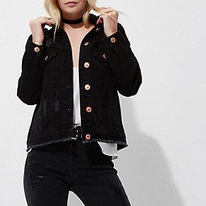 Petite black distressed denim jacket