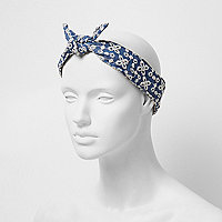 Blue denim floral head band