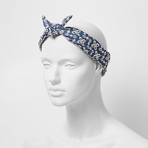 Blue denim floral head band
