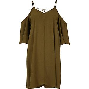 Robe trapèze vert kaki à épaules dénudées