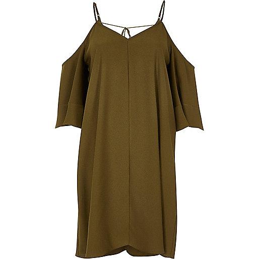 Khaki green cold shoulder swing dress