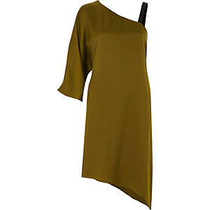 Khaki green asymmetric one shoulder dress