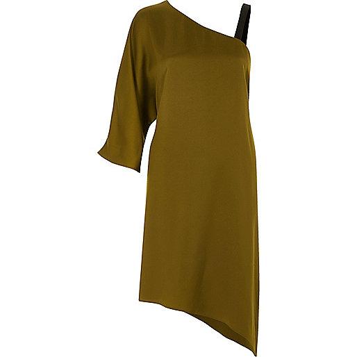 Khaki green asymmetric one shoulder dress