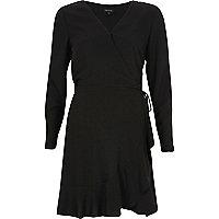 Black cold shoulder sleeve wrap dress