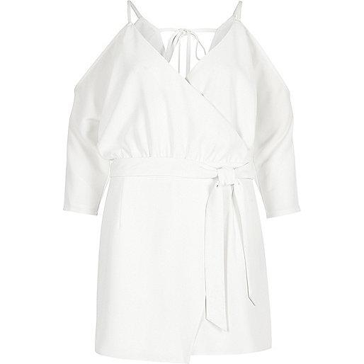 White tie back cold shoulder playsuit