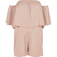 Pink double layer bardot romper