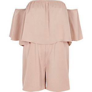 Pink double layer bardot playsuit
