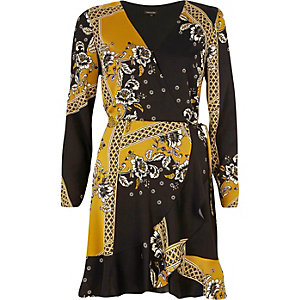 Yellow floral print cold shoulder wrap dress