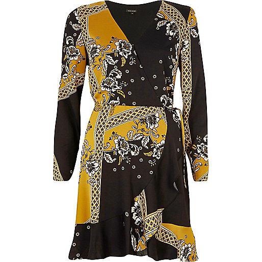 Yellow floral print cold shoulder wrap dress