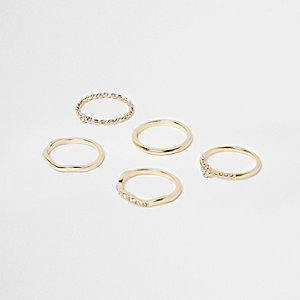Gold tone delicate ring pack