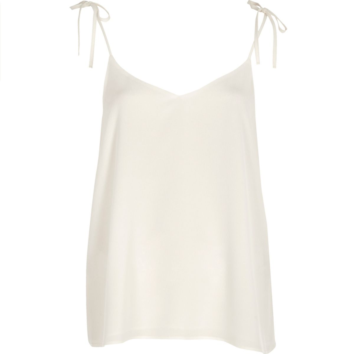 White bow shoulder cami top