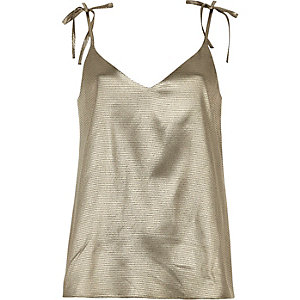 Gold metallic cami top