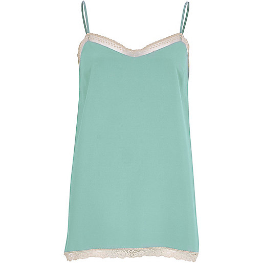 Mint green lace detail cami top