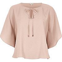Pink tie detail poncho top
