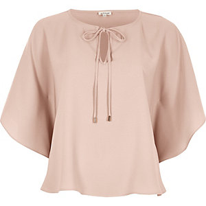 Pink tie detail poncho top