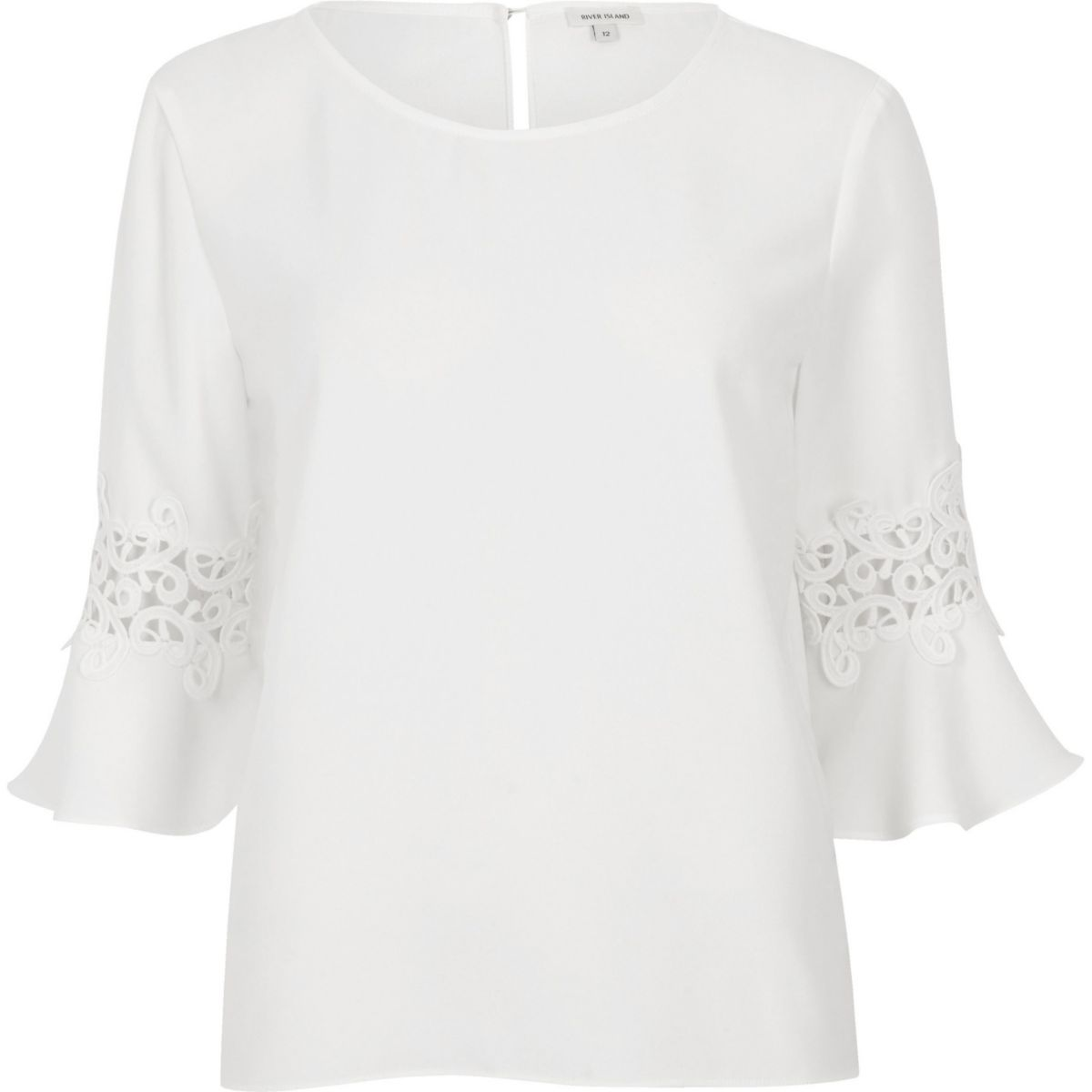 White lace insert bell sleeve top