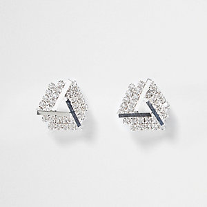 Silver tone gem encrusted stud earrings