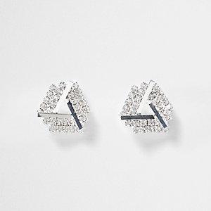 Clous d'oreilles argentés ornés de pierres fantaisie