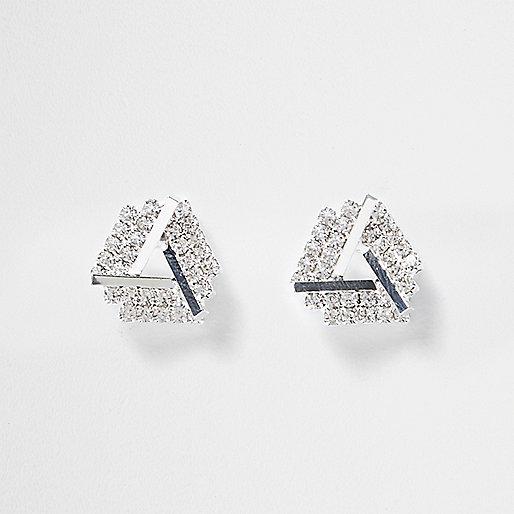 Silver tone gem encrusted stud earrings