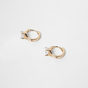 Gold tone gem encrusted hoop stud earrings