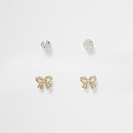 Gold tone bow 2 pack stud earrings