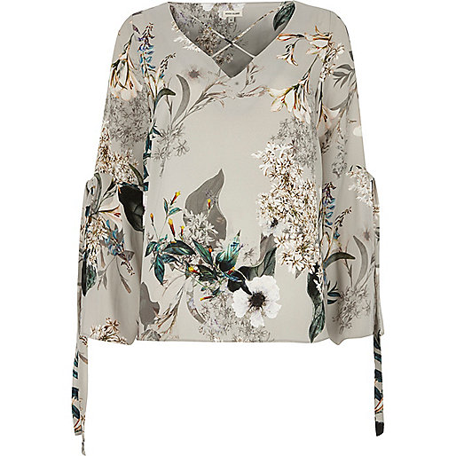 Grey floral print cross front top