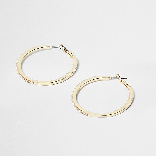 Gold tone pearl detail hoop earrings