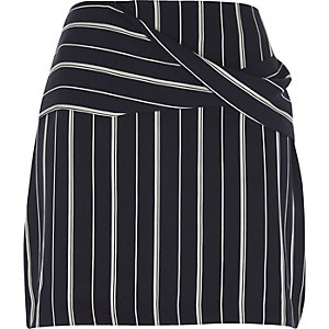Navy blue wrap front pinstripe mini skirt