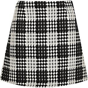 Black and white check A-line mini skirt