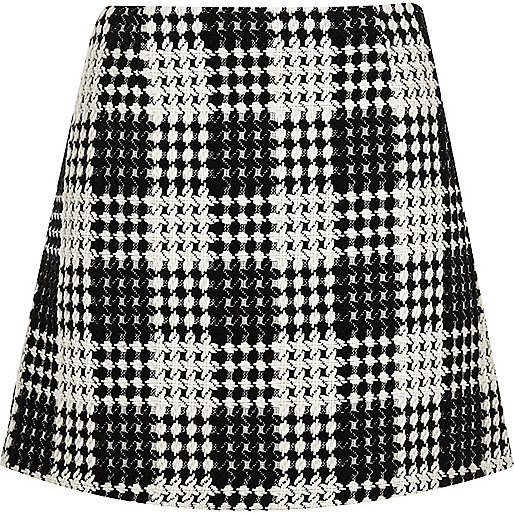 Black and white check A-line mini skirt