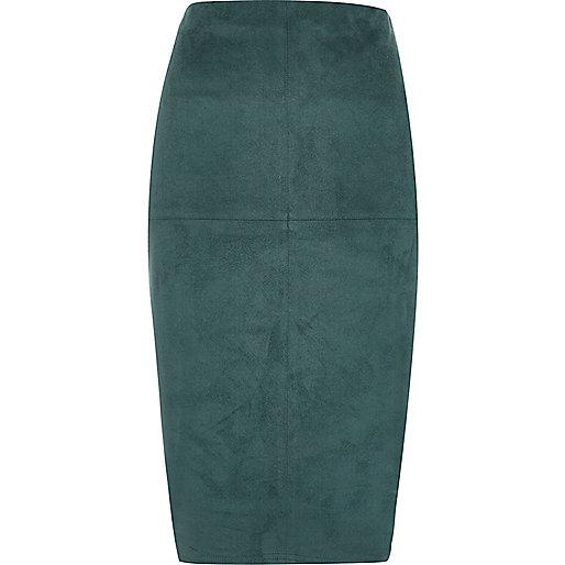 Dark turquoise suede look pencil skirt