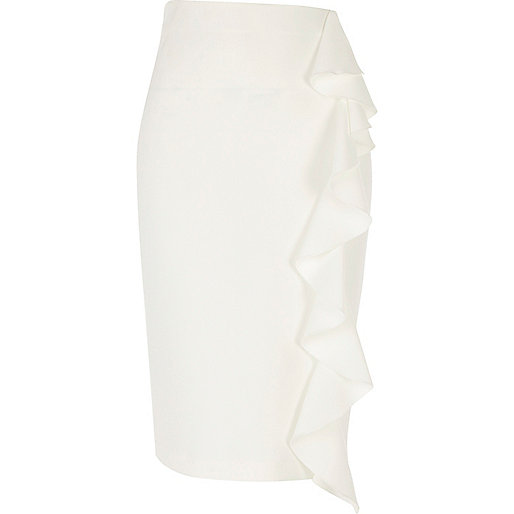 White frill midi pencil skirt
