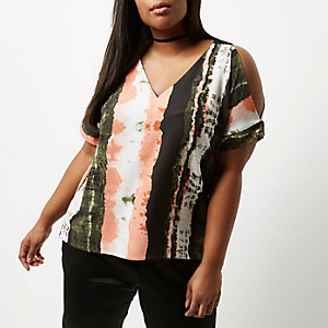 Plus orange tie dye cold shoulder top