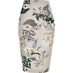 jupes imprim floral en dentelle taille haute. Black Bedroom Furniture Sets. Home Design Ideas