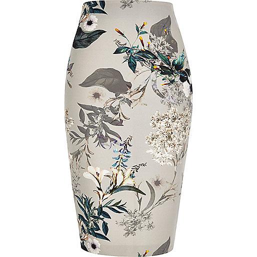 Grey floral print pencil skirt