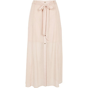 Light pink sheer button through skirt