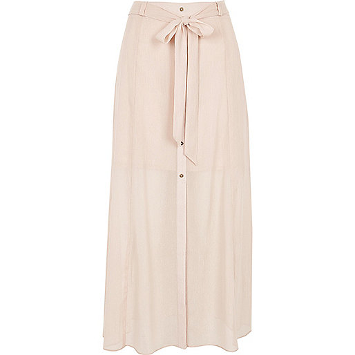 Light pink sheer button down skirt