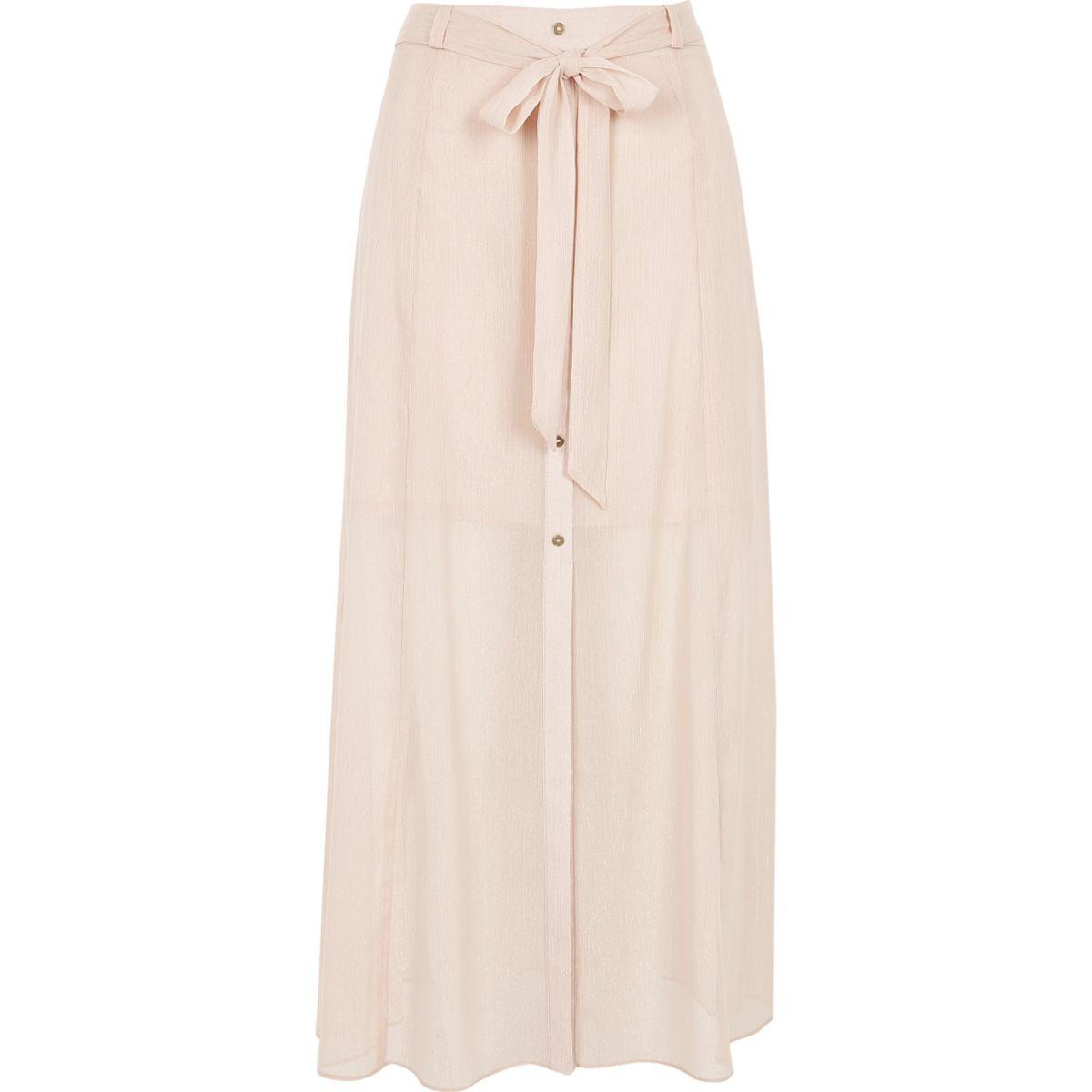 Light pink sheer button through skirt