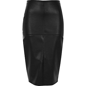 Black faux leather panel pencil skirt