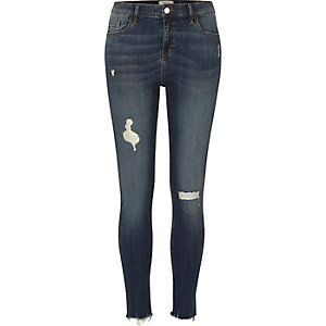 Dark blue ripped Amelie super skinny jeans