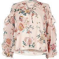 Pinke Bluse mit Blumenmuster