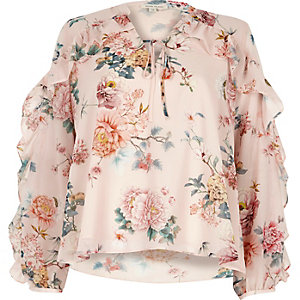 Pink floral print frill sleeve blouse