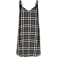 Black and white check slip dress